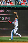 14 April 2018: Washington Nationals shortstop Trea Turner pulls in an infield fly for the second out in the 4th inning against the Colorado Rockies at Nationals Park in Washington, DC. The Nationals rallied to defeat the Rockies 6-2 in the 3rd game of their 4-game series. Mandatory Credit: Ed Wolfstein Photo *** RAW (NEF) Image File Available ***