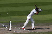 Varun Chopra of Essex is bowled out by Graham Onions during Lancashire CCC vs Essex CCC, Specsavers County Championship Division 1 Cricket at Emirates Old Trafford on 10th June 2018