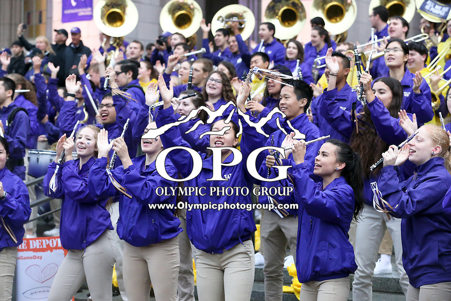 12 November 2016:   University of Washington band members entertained fans.  The ESPN Game Day crew was on hand for the the game between Washington and USC at the University of Washington in Seattle, WA.