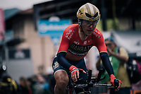 Domenico Pozzovivo (ITA/Bahrain-Merida) crossing the finish line<br /> <br /> stage 16: Trento &ndash; Rovereto iTT (34.2 km)<br /> 101th Giro d'Italia 2018