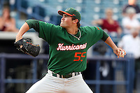 "Miami Hurricanes Steven Ewing #55 during a game vs. the University of South Florida Bulls in the ""Florida Four"" at George M. Steinbrenner Field in Tampa, Florida;  March 1, 2011.  USF defeated Miami 4-2.  Photo By Mike Janes/Four Seam Images"