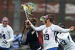 01 March 2015: Duke's Claire Scarrone (19) fouls Notre Dame's Stephanie Toy (6). The Duke University Blue Devils hosted the University of Notre Dame Fighting Irish on the West Turf Field at the Duke Athletic Field Complex in Durham, North Carolina in a 2015 NCAA Division I Women's Lacrosse match. Duke won the game 17-3.