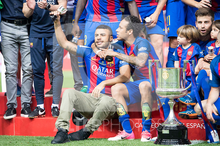 FC Barcelona's midfielder Rafinha Alcantara and forward Neymar Santos Jr after Copa del Rey (King's Cup) Final between Deportivo Alaves and FC Barcelona at Vicente Calderon Stadium in Madrid, May 27, 2017. Spain.<br /> (ALTERPHOTOS/BorjaB.Hojas)