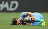 Andrea Pirlo #21 of NYC Football Club writhes in pain during a Major League Soccer match against the New York Red Bulls at Yankee Stadium on Sunday, July 3, 2016. NYCFC won by a score of 2-0.