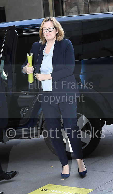 Andrew Marr Show arrivals <br /> BBC, Broadcasting House, London, Great Britain <br /> 26th March 2017 <br /> <br /> Amber Rudd MP <br /> Home Secretary <br /> arriving <br /> <br /> <br /> Photograph by Elliott Franks <br /> Image licensed to Elliott Franks Photography Services