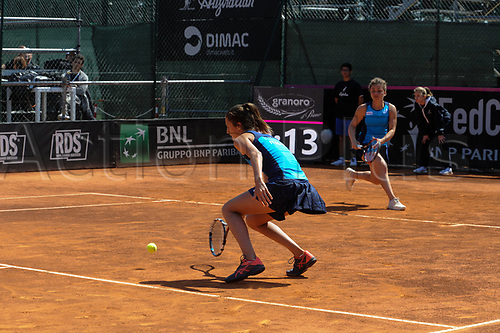 April 23rd 2017, Circolo Tennis Barletta, Barletta, Italy; Fed Cup tennis play-offs World Group II, Italy versus Chinese Taipei; Camilla Rosatello Jasmine Paolini play Chia-Jung CHUANG and Ching-Wen HSU