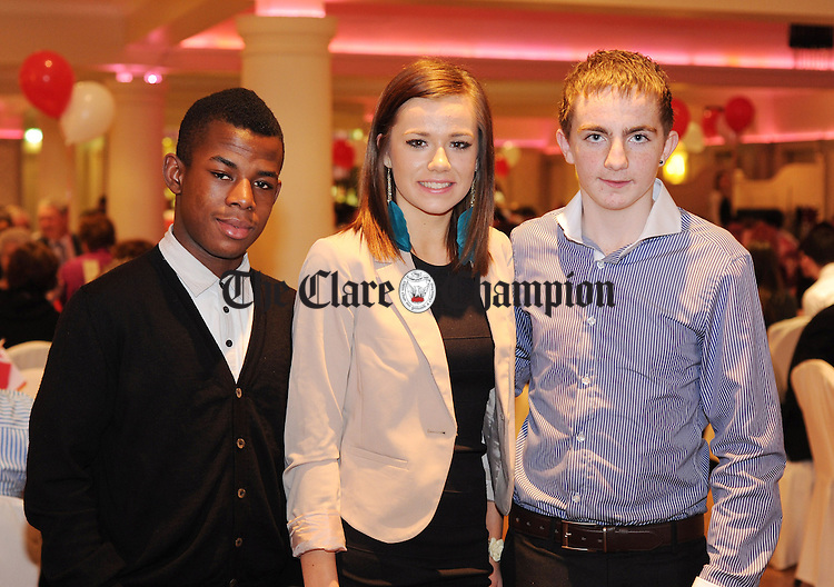 Willie Twumasi, Meabh Moriarty and Patrick Mc Daid pictured during Éire Óg GAA's medal presentation night at the Auburn Lodge Hotel in Ennis. Photograph by Declan Monaghan
