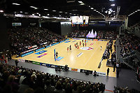 03.09.2017 Action during the Quad Series netball match between England and South Africa at the ILT Stadium Southland in Invercargill. Mandatory Photo Credit ©Michael Bradley.