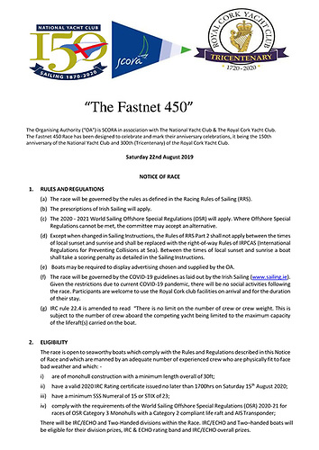 Fastnet 450 Notice of Race