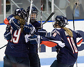 Lisa Stathopulos (UConn - 19), ?, Rebecca Hewett (UConn - 18) - The University of Connecticut Huskies defeated the Northeastern University Huskies 4-1 in Hockey East quarterfinal play on Saturday, February 27, 2010, at Matthews Arena in Boston, Massachusetts.