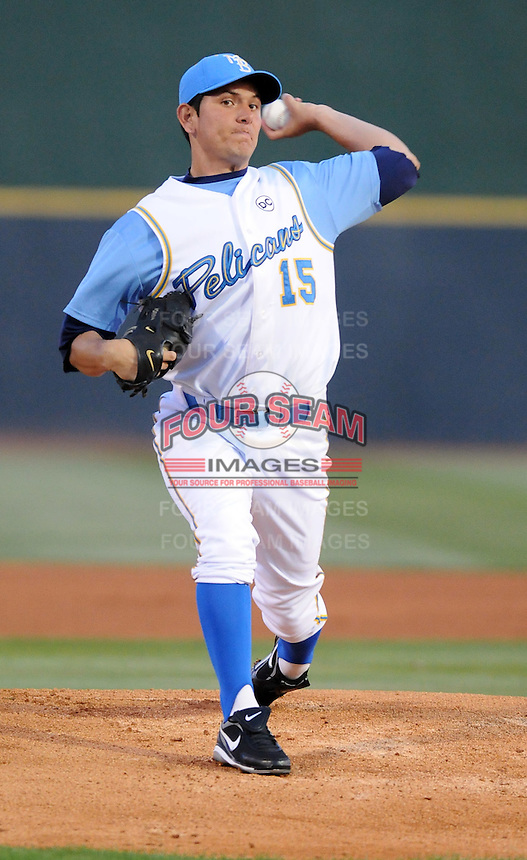 April 9, 2009: Edgar Osuna of the Myrtle Beach Pelicans, Class A affiliate of the Atlanta Braves, in a game against the Wilmington Blue Rocks at BB&T Coastal Field in Myrtle Beach, S.C. Photo by:  Tom Priddy/Four Seam Image