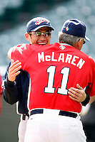 Ichiro Suzuki of Japan and John McLaren of the USA during World Baseball Championship at Angel Stadium in Anaheim,California on March 12, 2006. Photo by Larry Goren/Four Seam Images