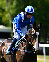 Neshmeya ridden by Jim Crowley goes down to the start of  of The Wateraid Mildren Construction Maiden Fillies' Stakes (Plus 10), during Father's Day Racing at Salisbury Racecourse on 18th June 2017