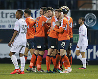 Alex Gilliead of Luton Town celebrates after he scores his team's third goal of the game to make the score 3-1 during the Sky Bet League 2 match between Luton Town and Barnet at Kenilworth Road, Luton, England on 31 December 2016. Photo by David Horn.