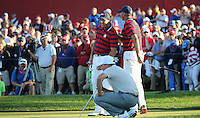 Phil Mickelson (Team USA) and Matt Kuchar (Team USA) on the brink of victory at the 17th during the Saturday Afternoon Four-Balls, at the 41st Ryder Cup 2016, at Hazeltine National Golf Club, Minnesota, USA.  01View of the 10th2016. Picture: David Lloyd | Golffile.