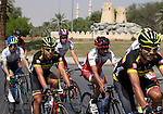 The peloton in action at the start of Stage 3, The Al Ain Stage, of the 2015 Abu Dhabi Tour starting from the Al Qattara Souq in Al Ain and running 129 km to the mountain top finish at Jebel Hafeet at 1025 metres, Abu Dhabi. 10th October 2015.<br /> Picture: ANSA/Claudio Peri | Newsfile