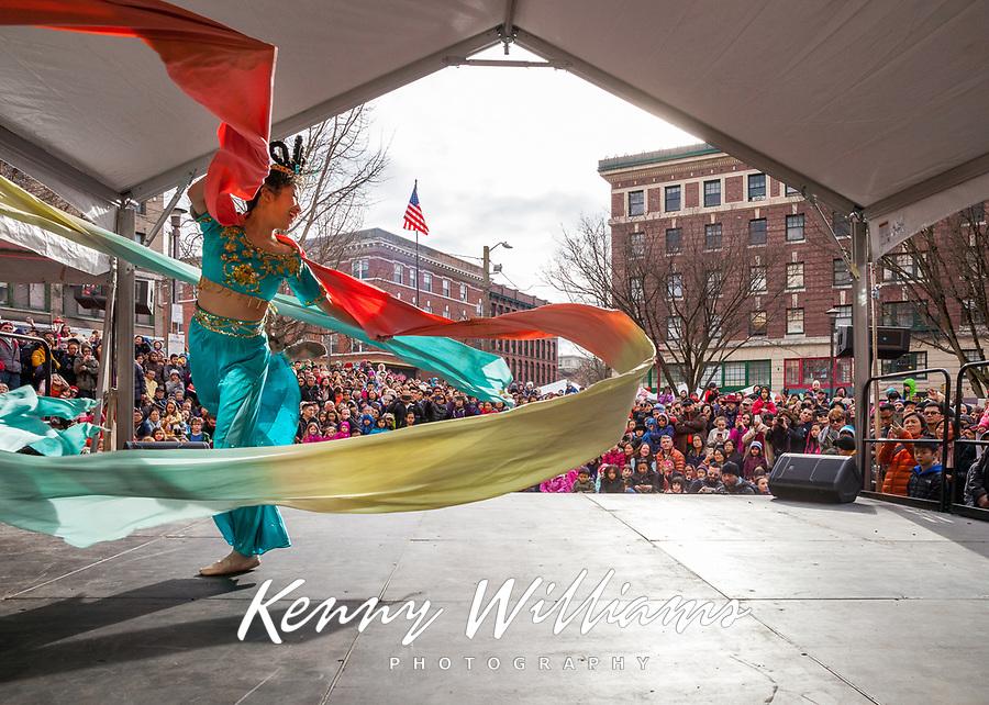 Beautiful Chinese Woman Performs Silk Ribbon Dance at the Lunar New Year Celebration, Chinatown, Seattle, WA, USA.