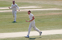 Gus Atkinson of Surrey celebrates taking the wicket of Sir Alastair Cookduring Essex CCC vs Surrey CCC, Bob Willis Trophy Cricket at The Cloudfm County Ground on 10th August 2020