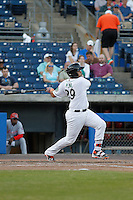 Norfolk Tides catcher Francisco Peña (29) at bat during a game against the Louisville Bats at Harbor Park on April 26, 2016 in Norfolk, Virginia. Louisville defeated defeated Norfolk 7-2. (Robert Gurganus/Four Seam Images)