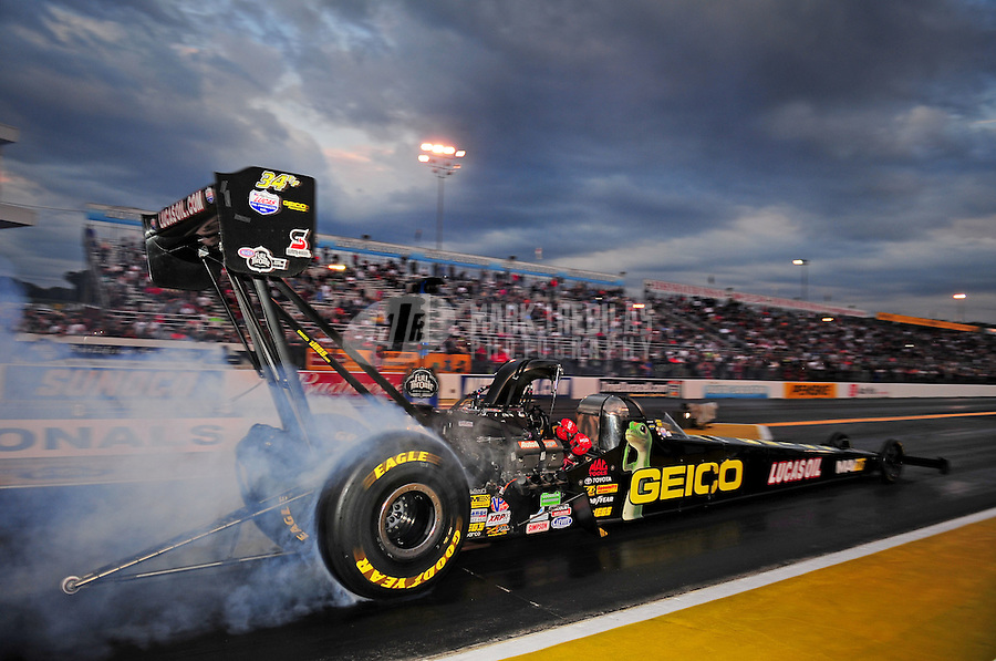 Sept. 30, 2011; Mohnton, PA, USA: NHRA top fuel dragster driver Morgan Lucas during qualifying for the Auto Plus Nationals at Maple Grove Raceway. Mandatory Credit: Mark J. Rebilas-