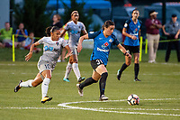 Kansas City, MO - Saturday July 22, 2017: Debinha De Oliveira, Christina Gibbons during a regular season National Women's Soccer League (NWSL) match between FC Kansas City and the North Carolina Courage at Children's Mercy Victory Field.