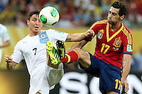 16.06.2013 Recife, Brazil. Alvaro Arbeloa against Cristian Rodriguez during the Confederations Cup Group B game between Spain and Uruguay from Arena Pernambuco.