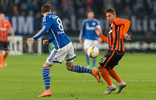 25.02.2016. Gelsenkirchen, Germany.  Schalke's Leon Goretzka (l) and Donetsk's Marlos (r) in action during the Europa League Round of 32 Second Leg soccer match between Schalke 04 and FC Shakhtar Donetsk in the Veltins Arena in Gelsenkirchen, Germany, 25 February 2016.
