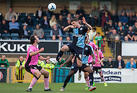 Stephen McGinn of Wycombe Wanderers wins the ball in the air during the Sky Bet League 2 match between Wycombe Wanderers and Northampton Town at Adams Park, High Wycombe, England on 3 October 2015. Photo by Andy Rowland.