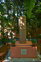 Yves Sant Lauren memorial in the Majorelle Garden botanical garden designed by French artist Jacques Majorelle in the 1920s and 1930s, Marrakech, Morocco