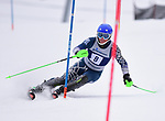 FRANCONIA, NH - MARCH 10:   A member of the University of New Hampshire participates in the men's Slalom at the Division I Men's and Women's NCAA Skiing Championships held at Jackson Ski Touring on March 10, 2017 in Jackson, New Hampshire. (Photo by Gil Talbot/NCAA Photos via Getty Images)