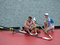 Shunyi, CHINA. GBR M4- Peter REED sits with his gold medal and chats with the boat holder, after the medal ceremony,  Olympic Regatta, Shunyi Rowing Course.  Sunday  17/08/2008  [Mandatory Credit:  Svend Aage Nielsen/  Intersport Images]