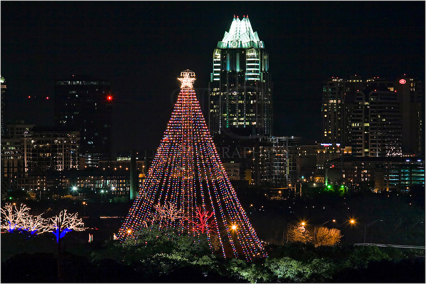Every year the Christmas tree is lit in Zilker Park near downtown Austin. For many families, the trail of lights is a holiday tradition. Framed by the Austin skyline, this image is taken from a parking garage with a telephoto lens.