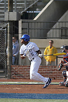 University of Kentucky Wildcats outfielder JaVon Shelby #5 at bat during a game against the University of Virginia Cavaliers at Brooks Field on the campus of the University of North Carolina at Wilmington on February 14, 2014 in Wilmington, North Carolina. Kentucky defeated Virginia by the score of 8-3. (Robert Gurganus/Four Seam Images)