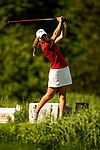 STILLWATER, OK - MAY 21: Morgane Metraux of Florida State drives from the second tee box during the Division I Women's Golf Individual Championship held at the Karsten Creek Golf Club on May 21, 2018 in Stillwater, Oklahoma. (Photo by Shane Bevel/NCAA Photos via Getty Images)