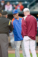 March 29, 2011:    Florida Gators head coach Kevin O'Sullivan meets the umpires at home plate prior to the start of action between Florida Gators and Florida State Seminoles played at the Baseball Grounds of Jacksonville in Jacksonville, Florida.  Florida State defeated Florida 5-2............