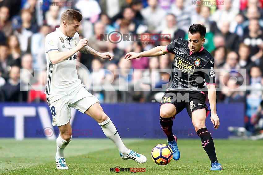 Real Madrid's Toni Kroos  (l) and RCD Espanyol's Jose Manuel Jurado during La Liga match. February 18,2017. (ALTERPHOTOS/Acero) /Nortephoto.com
