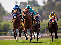 ARCADIA, CA - MAY 27: Lady Eli #6 ridden by Irad Ortiz Jr defeats Goodyearforroses #4 ridden by Corey Nakatani to win the Gamely Stakes at Santa Anita Park  on May 27, 2017 in Arcadia, California. (Photo by Alex Evers/Eclipse Sportswire/Getty Images)
