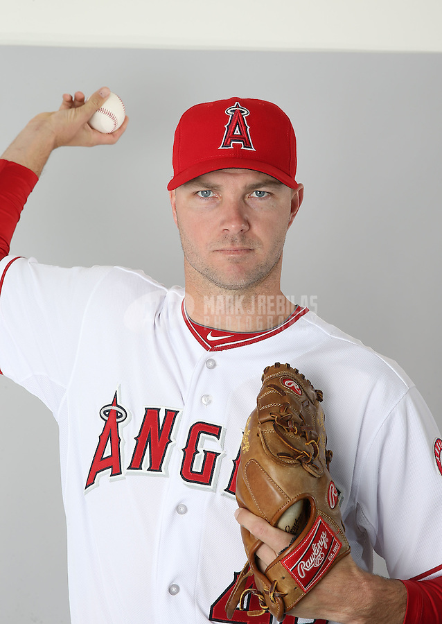 Feb. 21, 2013; Tempe, AZ, USA: Los Angeles Angels pitcher Ryan Madson poses for a portrait during photo day at Tempe Diablo Stadium. Mandatory Credit: Mark J. Rebilas-
