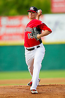 Hickory Crawdads starting pitcher Connor Sadzeck (19) in action against the Kannapolis Intimidators at L.P. Frans Stadium on May 25, 2013 in Hickory, North Carolina.  The Crawdads defeated the Intimidators 14-3.  (Brian Westerholt/Four Seam Images)