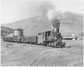 3/4 engineer's-side view of D&amp;RGW #268 with short coal train leaving Crested Butte.<br /> D&amp;RGW  Crested Butte, CO