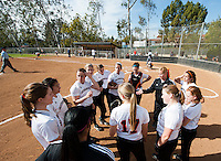 Occidental College's softball team beats La Sierra University in the first of two games at Bell Field on Friday, Feb. 17, 2012. (Photo by Marc Campos, Occidental College Photographer)