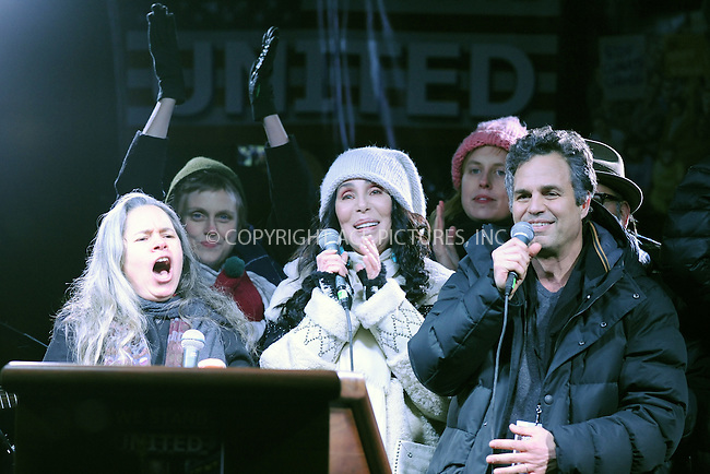 www.acepixs.com<br /> January 19, 2017  New York City<br /> <br /> Natalie Merchant, Cher, and Mark Ruffalo sing onstage during the We Stand United NYC Rally outside Trump International Hotel &amp; Tower on January 19, 2017 in New York City.<br /> <br /> Credit: Kristin Callahan/ACE Pictures<br /> <br /> Tel: 646 769 0430<br /> Email: info@acepixs.com