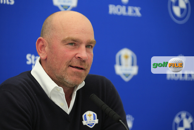 Thomas Bjorn speaking at the announcement of the Ryder cup vice captains press conference during  round 2 of the 2016 BMW PGA Championship. Wentworth Golf Club, Virginia Water, Surrey, UK. 27/05/2016.<br /> Picture Fran Caffrey / Golffile.ie<br /> <br /> All photo usage must carry mandatory copyright credit (&copy; Golffile | Fran Caffrey)