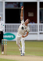 Joe Denly bowls for Kent during the County Championship Division 2 game between Kent and Leicestershire at the St Lawrence ground, Canterbury, on Sun July 22, 2018