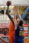 Baloncesto Fuelabrada's Mouhamed Saer Sene (l) and FC Barcelona Regal's Kosta Perovic during Liga Endesa ACB match.October 30,2011. (ALTERPHOTOS/Acero)