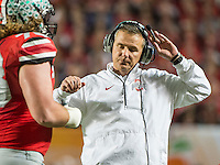 January 3, 2014 - Miami Gardens, Florida, U.S: Ohio State Buckeyes head coach Urban Myer reacts on the sideline  during the Discover Orange Bowl between the Clemson Tigers and the Ohio State Buckeyes at Sun Life Stadium in Miami Gardens, Fl