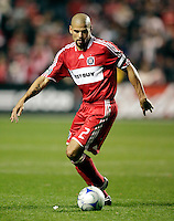 Chicago Fire defender C.J. Brown (2) dribbles the ball.  Real Salt Lake defeated the Chicago Fire in a penalty kick shootout 0-0 (5-4 PK) in the Eastern Conference Final at Toyota Park in Bridgeview, IL on November 14, 2009.