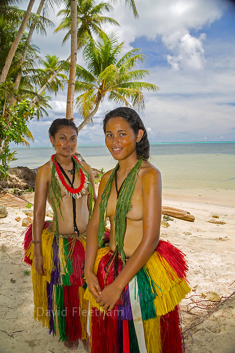 These two young girls (MR) are in a traditional outfit for cultural cerimonies on the island of Yap, Micronesia.