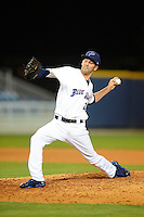 Pensacola Blue Wahoos pitcher Chris Manno #28 during a game against the Jacksonville Suns on April 15, 2013 at Pensacola Bayfront Stadium in Pensacola, Florida.  Jacksonville defeated Pensacola 1-0 in 11 innings.  (Mike Janes/Four Seam Images)