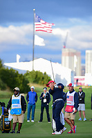 Brooks Koepka (USA) hits his approach shot on 15 during round 3 Four-Ball of the 2017 President's Cup, Liberty National Golf Club, Jersey City, New Jersey, USA. 9/30/2017.<br /> Picture: Golffile | Ken Murray<br /> <br /> All photo usage must carry mandatory copyright credit (&copy; Golffile | Ken Murray)